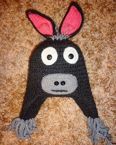 Donkey 100% Handmade Crochet Beanie Composition : High Quality Cotton Stretch Touch: soft, not itchy. Size info : Approx. 25cm height and 23cm width when laid down flat. One size - stretches to fit head 50 - 54 cm comfortably. Approximate child age 3+ years. It can be made for younger children too.
