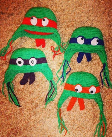 Ninja Turtle, Handmade boy crochet beanie. Teenage Mutant Ninja Turtles who is who. Leonardo: blue bandanas Donatello: purple bandanas Raphael: red bandanas Μichelangelo: orange bandanas