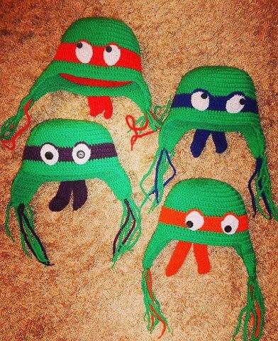 Ninja Turtle, Handmade boy crochet beanie. Teenage Mutant Ninja Turtles who is who. Leonardo: blue bandanas Donatello: purple bandanas Raphael: red bandanas Μichelangelo: orange bandanas