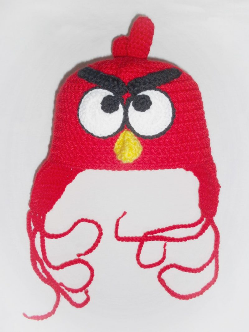 Angry bird 100% Handmade Crochet Beanie Composition : High Quality Cotton Stretch Touch: soft, not itchy. Size info : Approx. 25cm height and 23cm width when laid down flat. One size - stretches to fit head 50 - 54 cm comfortably. Approximate child age 3+ years. It can be made for younger children too. CARING TIPS: